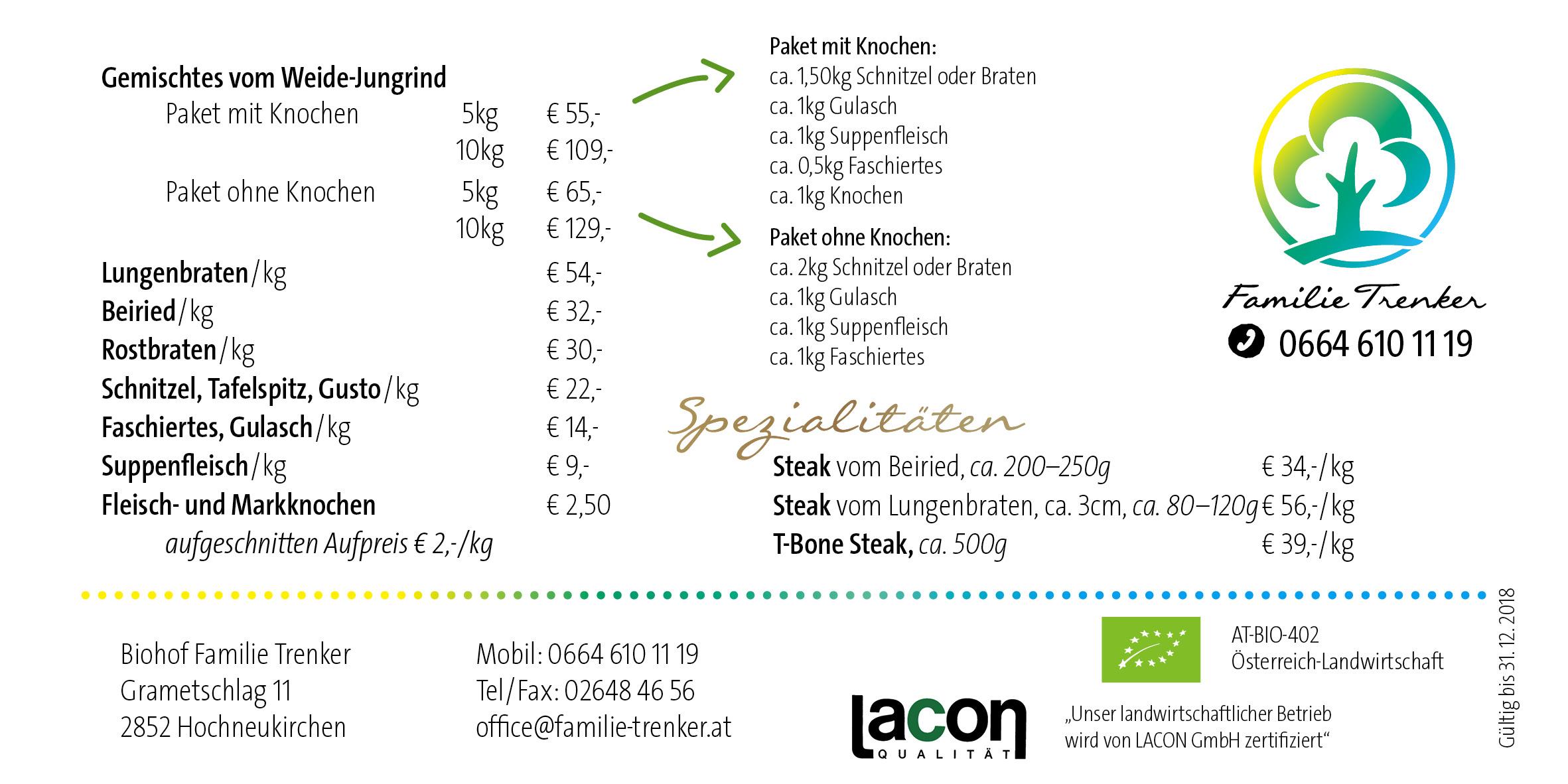 Preisliste Weidejungrindfleisch